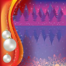 Free Christmas Greeting With White Balls And Forest Stock Images - 16178884