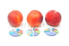 Peaches And Business Charts Royalty Free Stock Images