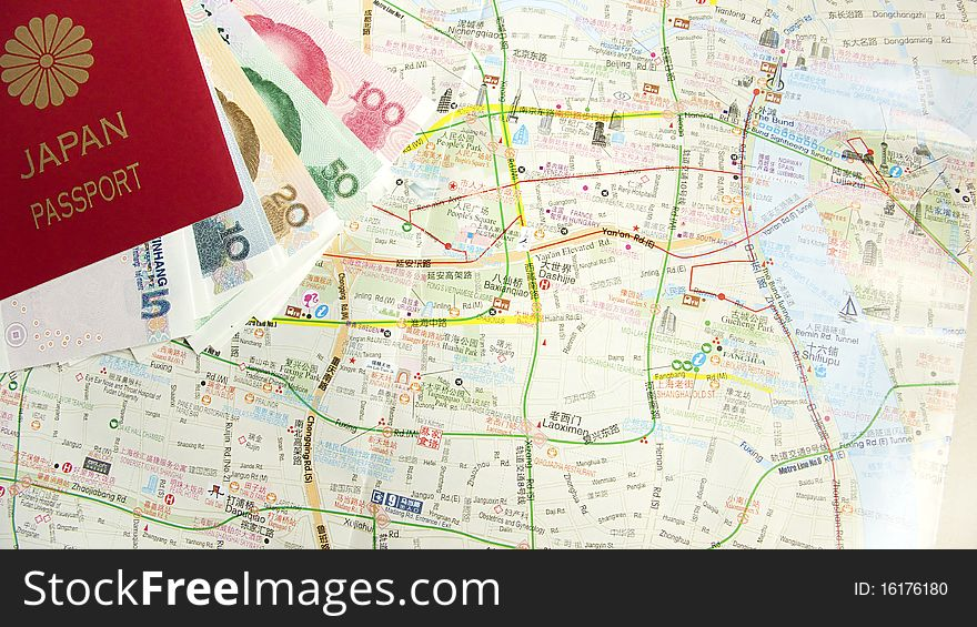 Map and passport and money