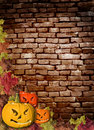 Free Fall Leaves And Carved Pumpkins Forming A Frame Stock Photo - 16187720