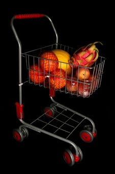 Free Shopping Trolley Full Of Fruit Stock Photography - 16180682