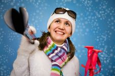 Free The Beautiful Woman On Skis Royalty Free Stock Images - 16181899