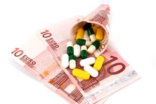 Free Pills And Money Royalty Free Stock Photo - 16182525