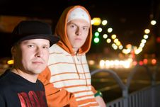 Rapper Guys On The Street At Night Royalty Free Stock Photography
