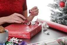 Wrapping Holiday Presents Stock Photography