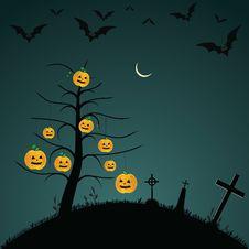 Halloween Background With Bats, Pumpkins Stock Photography