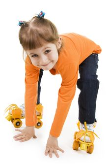 Free The Little Girl On Roller Skates Stock Photo - 16186040