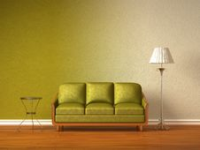 Free Green Couch With Table And Standard Lamp Royalty Free Stock Photos - 16186328