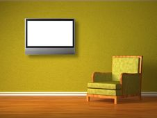 Free Green Chair With Lcd Tv Stock Photography - 16186502