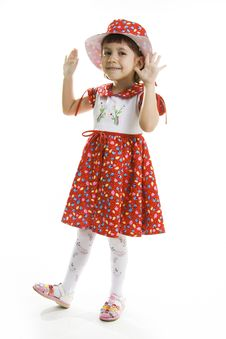 Free Fan Little Girl Dancing. Royalty Free Stock Photography - 16186937