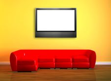 Red Couch With LCD Tv Stock Photos