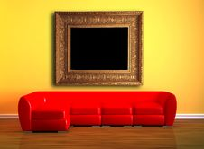 Free Red Couch With Picture Frame Stock Image - 16186991