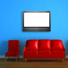 Red Couch And Chair With LCD Tv Stock Photos