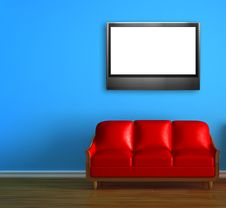 Red Couch With LCD Tv Royalty Free Stock Photography