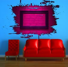 Free Red Couch And Chair With Pink Splash Hole Stock Image - 16187061