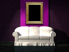 Free White Sofa With Purple Part Of The Wall And Frame Stock Photos - 16187113