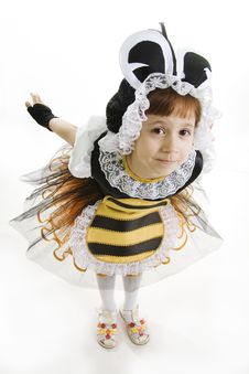 Small Girl Is Dressed Bee Royalty Free Stock Photography