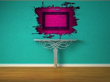 Metallic Console-table And Pink Splash Hole Stock Photos