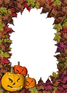 Free Fall Leaves And Carved Pumpkins Forming A Frame Stock Photo - 16187360