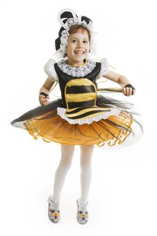 Free Small Girl Is Bee Costume. Flying Bee. Stock Photo - 16187510