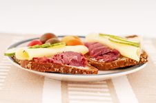Free Sandwich On Plate Stock Image - 16187671