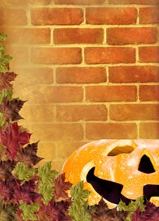 Free Leaves With Pumpkin On Wall Brick Brown Background Stock Photos - 16187833