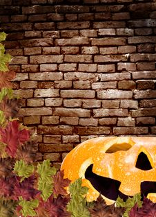 Free Leaves  Pumpkin On Wall Brick Brown Background Royalty Free Stock Images - 16187879