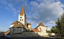 Panorama With Fortified Church In Cisnadie Royalty Free Stock Image