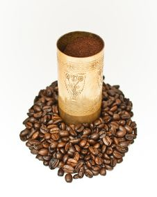 Coffee In Coffee-grinder Royalty Free Stock Photo