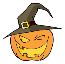 Free Jack O Lantern Wearing A Witch Hat Winking Royalty Free Stock Images - 16189829