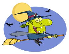 Free Witch Flying Fast On Her Broomstick Stock Photo - 16189850