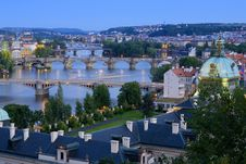 Free Bridges In Prague Over The River Vltava At Sunset Stock Photos - 16189873