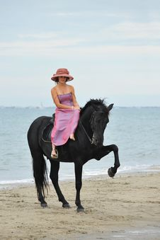 Free Girl And  Horse On The Beach Royalty Free Stock Photos - 16189898