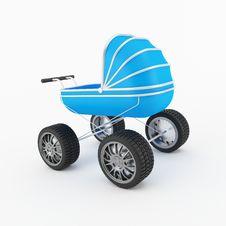 Blue Child Pram Royalty Free Stock Photography