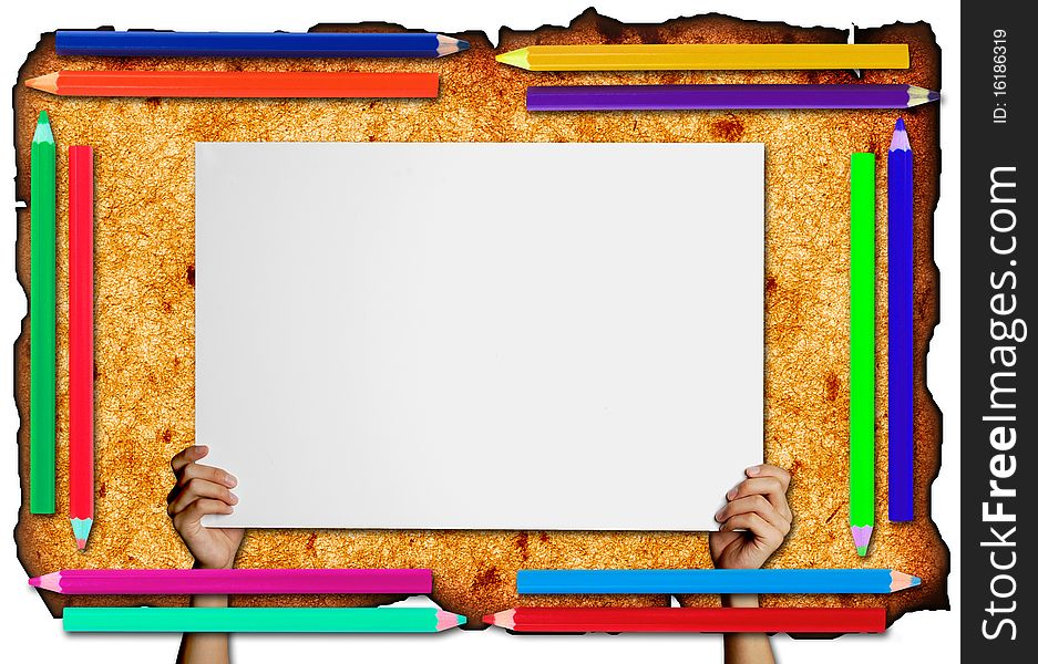 Pencil Frame On Paper Background - Free Stock Images