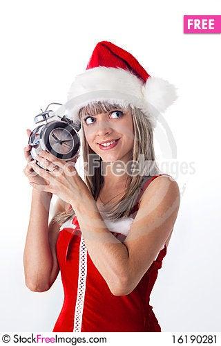 Free Santa Girl Holding A Clock, Alarm Clock Stock Image - 16190281