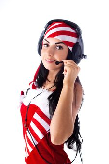 Free Santa Girl With Headphones Talking On Skype. Royalty Free Stock Photos - 16190178