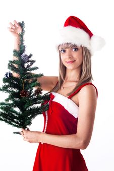 Santa Girl Holding A Christmas Tree With Cones And Stock Photography