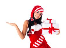 Girl With Presents Royalty Free Stock Images