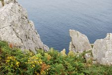 Pointe Du Van Cliff Stock Photo