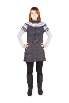 Girl In Knit Dress Standing, Hands On Hips Royalty Free Stock Images