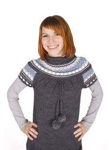 Girl In Knit Dress Standing, Hands On Hips Stock Photography