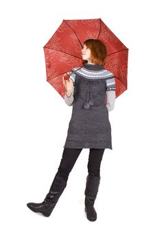 Girl In Knit Dress With Red Umbrella Standing Stock Photos