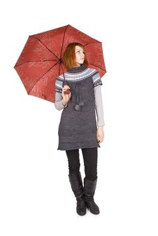 Free Girl In Knit Dress With Red Umbrella Standing Stock Photography - 16191332