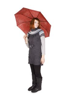 Girl In Knit Dress With Red Umbrella Standing Royalty Free Stock Photography