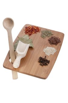 Kitchen Board With Spices Royalty Free Stock Images