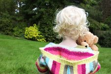 Free Child Cuddling Teddy Bear Royalty Free Stock Photo - 16191895
