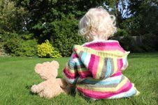 Free Child Cuddling Teddy Bear Stock Photography - 16191932