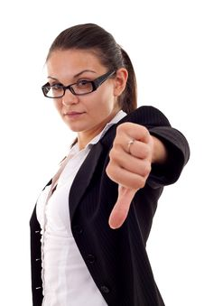 Woman Gesturing Thumbs Down Stock Photos