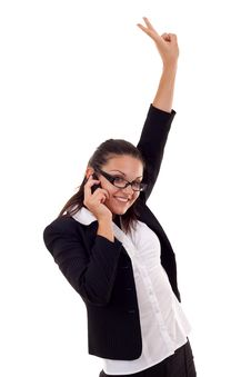 Free Woman On The Phone Winning Stock Images - 16193084